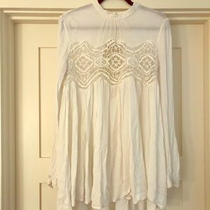 Free People lace cream tunic top